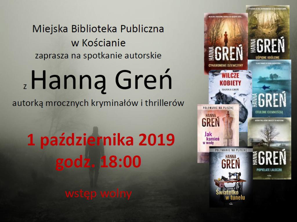 Zapraszamy na spotkanie autorskie z Hanną Greń 1 października 2019, godz. 18.00