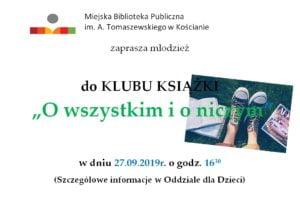 Młodzieżowy Klub Książki zaprasza na spotkanie 27 września