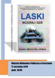 """Plakat promujące spotkanie z autorami książki """"Laski. Wczoraj i dziś"""""""