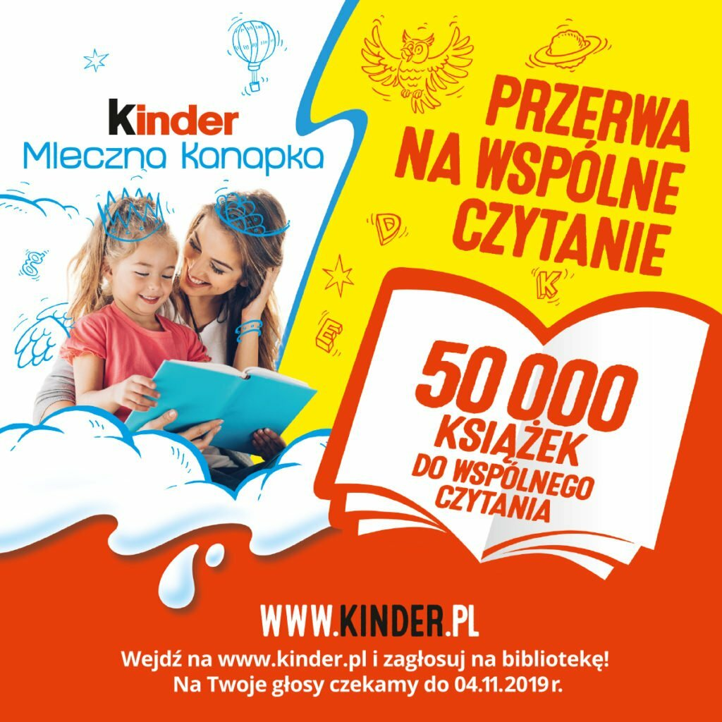 Na stronie Kinder mleczna kanapka można oddawać głosy na biblioteki. Te, które zdobędą największą liczbę głosów otrzymają nagrody