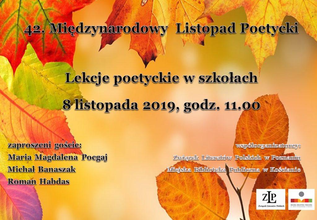 Plakat na 42 Międzynarodowy Listopad Poetycki