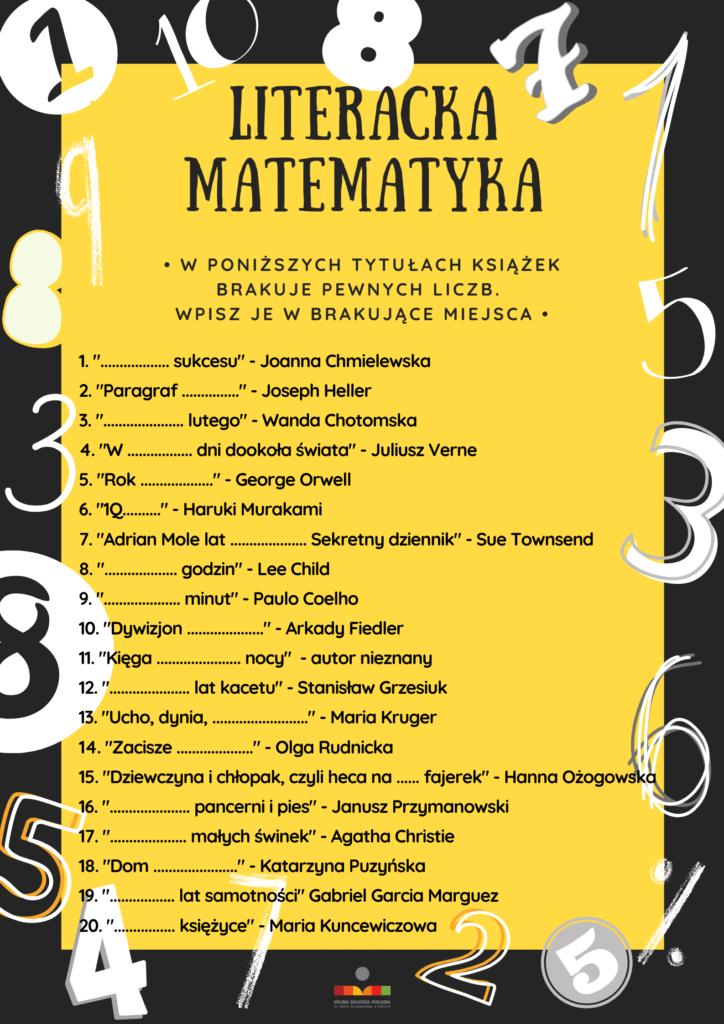 zdjęcie przedstawiające listę tytułów z ukrytymi zagadkami matematycznymi (treść dostępna także w poście)