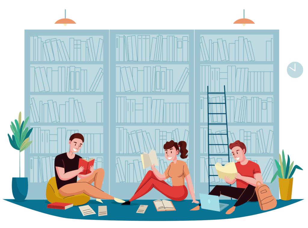 obrazek przedstawiający ludzi czytających książki, siedzących przed regałami