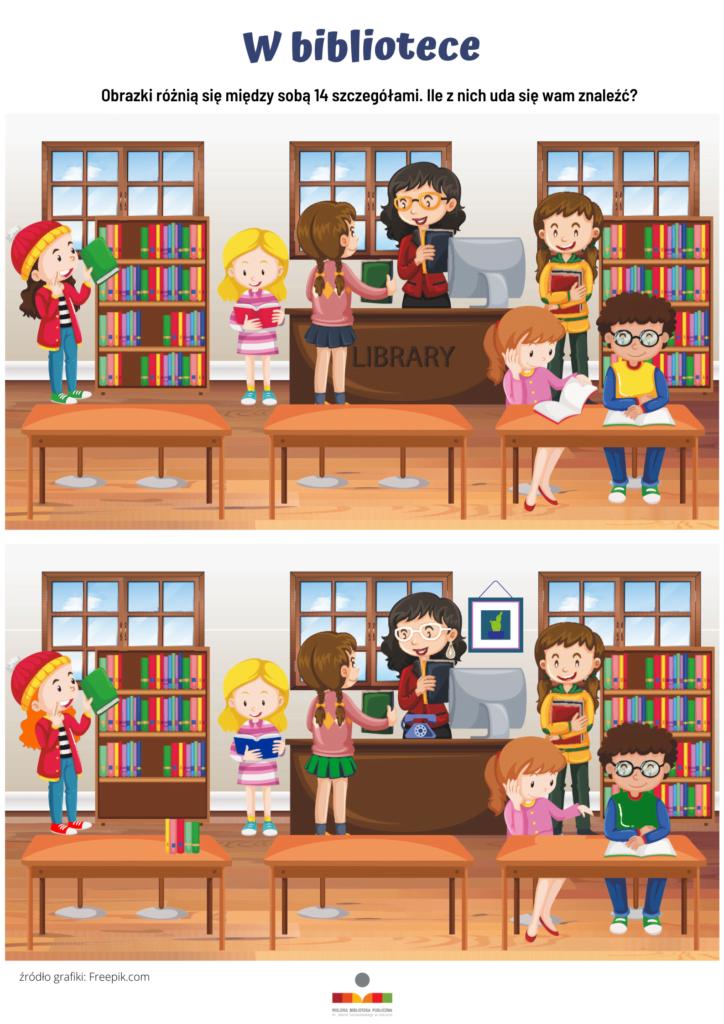 Dwa obrazki biblioteki różniące się między sobą 14 szczegółami