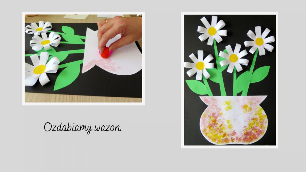 Ozdabiamy wazon za pomocą gąbki i farby