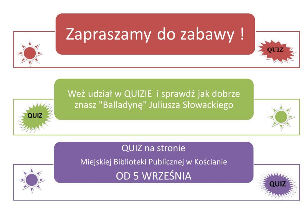 Afisz reklamujący quiz