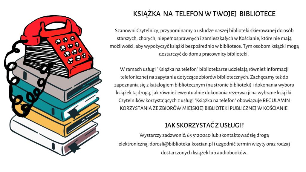 """Po lewej stronie stos kolorowych książek, na którym stoi czerwony telefon. Po prawej informacja o usłudze """"Książka na telefon"""""""
