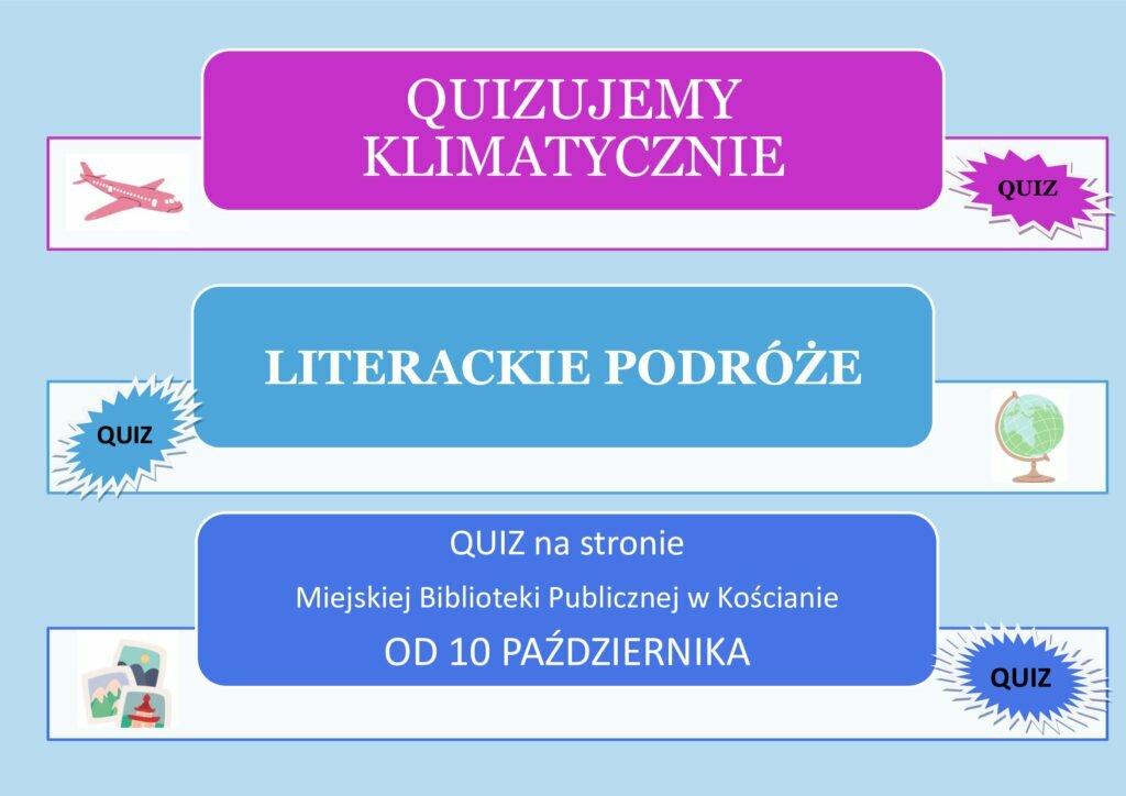 Na niebieskim tle trzy ramki z informacjami o quizie