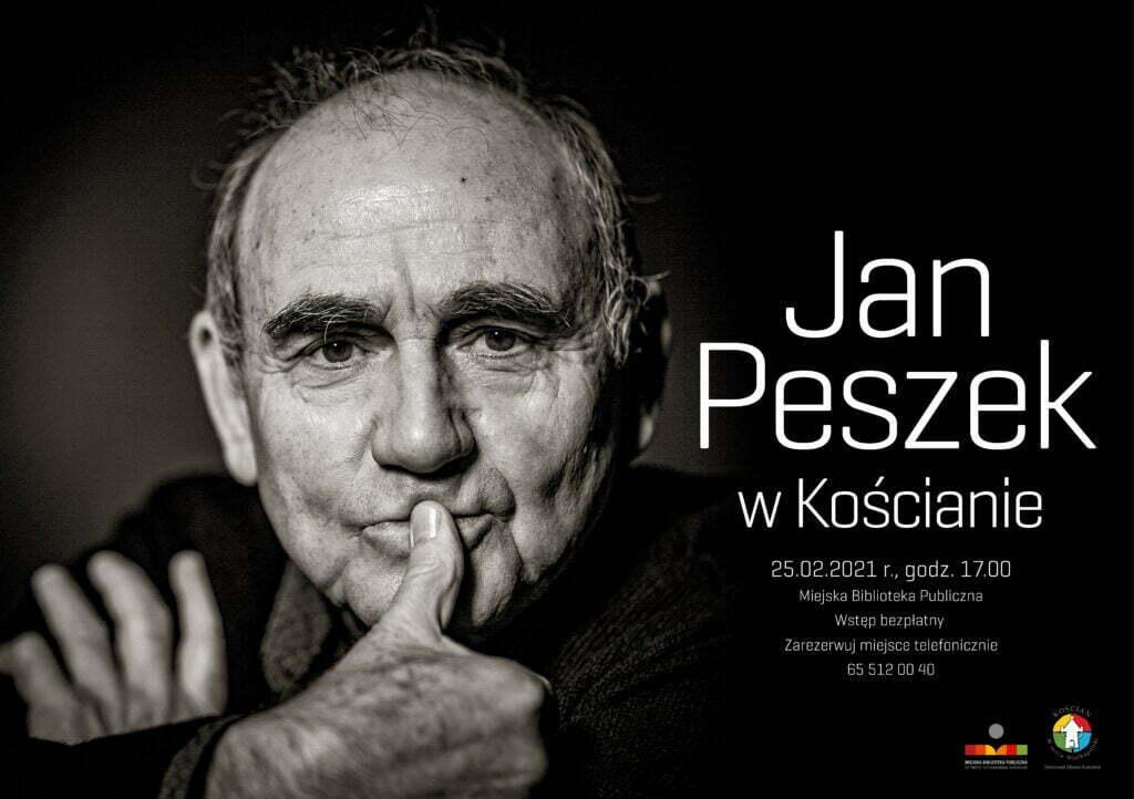 Na czarnym tle twarz Jana Peszka. Informacje o dacie spotkania