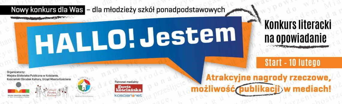 "baner reklamujący konkurs literacki ""Hallo! Jestem"""