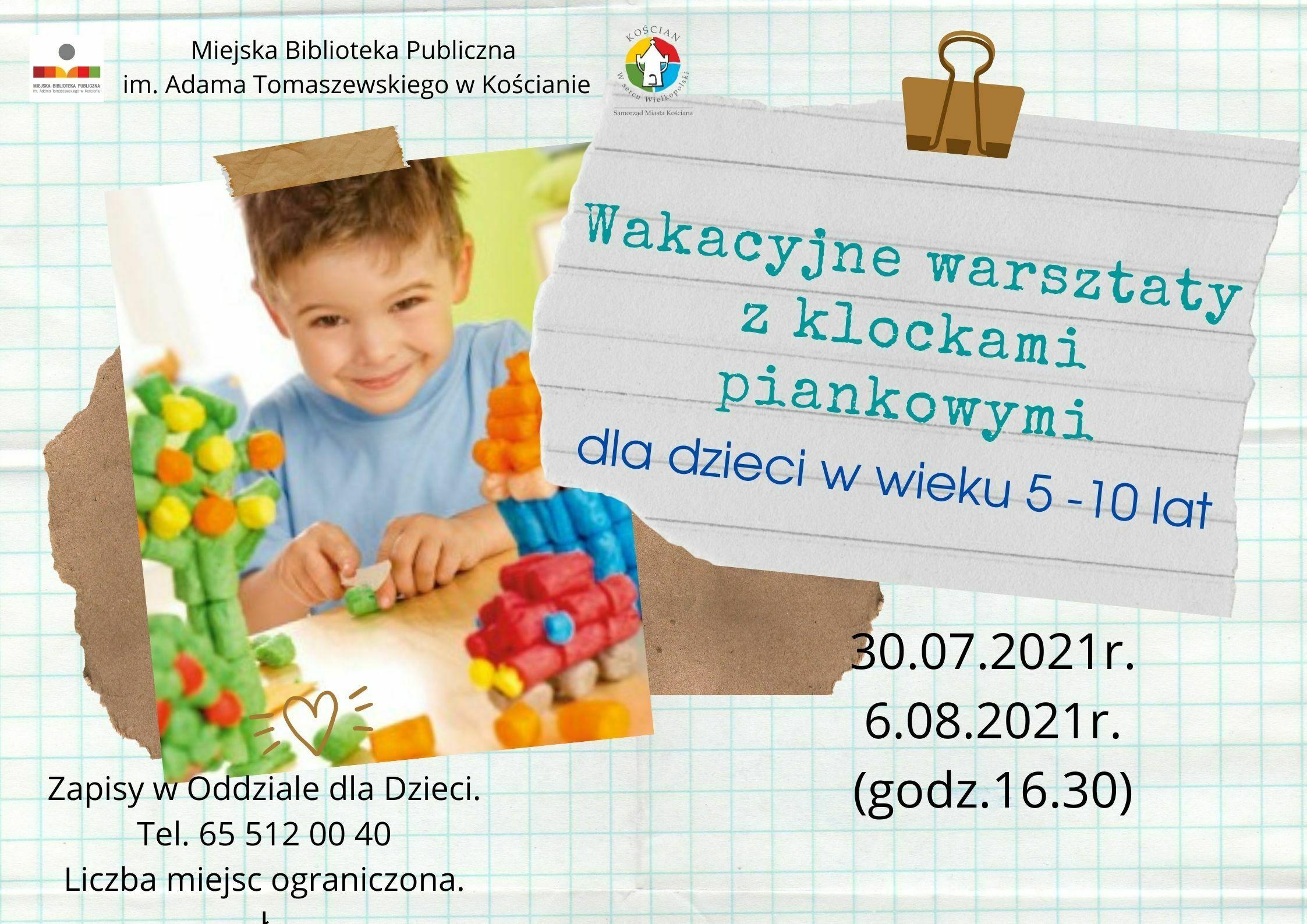 Plakat promujący wakacyjne warsztaty z klockami